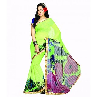 Bhavi Printed Faux Georgette Sari with Border (BHR2519)