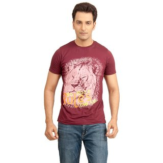 Vacuum Tshirts 100% Supima Cotton Safari Theme Lion Printed Wine T-Shirt