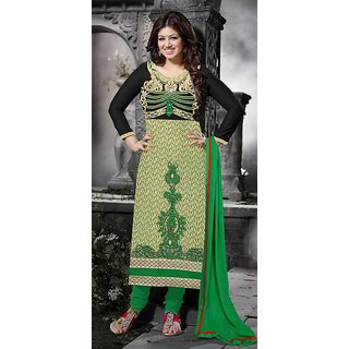 khoobee Presents Multi Embroidered Georgette Chudidar Unstitched Dress Material
