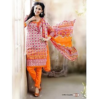 khoobee Presents Printed Jacquard Chudidar Unstitched Dress Material(Multi,Orang