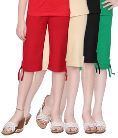 SINIMINI GIRLS COLORFUL CAPRI ( PACK OF 4 )-SMPC200-RED-BEIGE-BLACK-GREEN