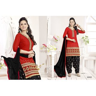 Red colour Cambric Cotton Embroidered  Designer Dress material