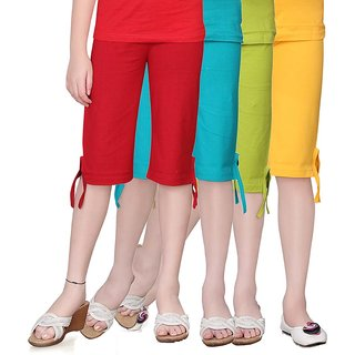 SINIMINI GIRLS COLORFUL CAPRI ( PACK OF 4 )-SMPC200-RED-TB-MEGANDI-GY
