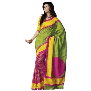 Dks Designer Green Yellow  Pink Multi Color Bhagalpuri Silk Saree.