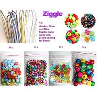 Ziggle Pack of Fancy, Wooden, Pastel Colored Big Pearls  Wires Bead Crafts