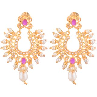 Chandbali shape antique earrings with ruby and pearls work