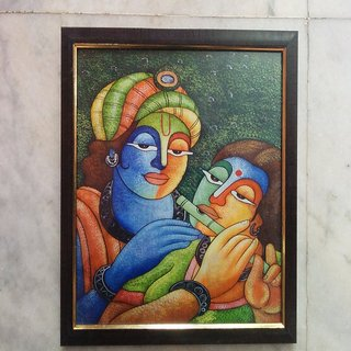 Radha Krishna Flute Framed Reprint Painting
