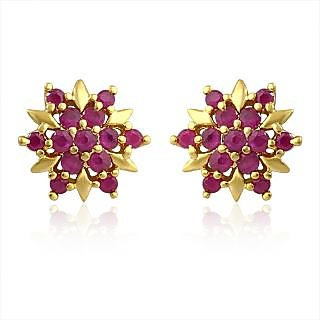 a75949be8c8 Mahi Gold Plated Red Burst Earrings With Ruby Stones For Women Er1108970G