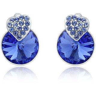 Mahi Made With Swarovski Elements Rhodium Plated Blue Stud Earrings