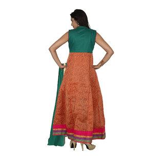 Indian Traditional Wedding Embroidery Anarkali Suit With Chanderi Silk Dupatta For Women, Chandan-Sks-714-Orangebottlegreen-Xl