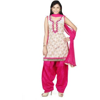 Indian Traditional Wedding Embroidery Anarkali Suit With Cotton Jacquard Dupatta For Women, Chandan-Sks-728-Creamrani-Xxl