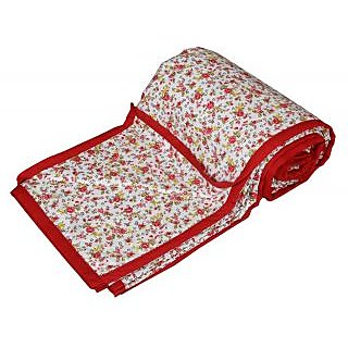 IndiWeaves Cotton Dohar/Ac Blanket  for Double Bed- Red