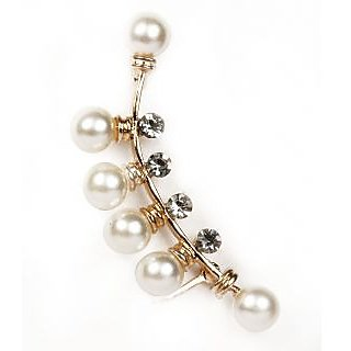 Urthn Gold Plated Pearl Ear Cuff in White