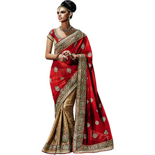 YSK Beige Red Wedding Saree Georgette Embroidery Border Indian Sari