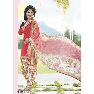 Fabfirki New Red Printed Dress Materials