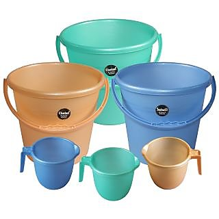 Chetan 3pc Frosty 13 Ltr Plastic Bucket & 1 ltr Mug (Peach & Blue & Green)