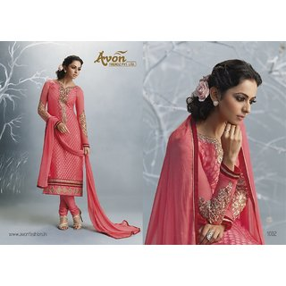 Aadya Latest Pink Brasso Embroidered Semi-Stitched Suits