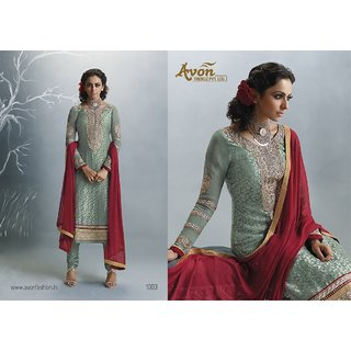 Aadya Lovely Green Brasso Embroidered Semi-Stitched Suits