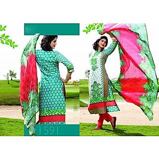 Aadya Ostentatious Green Cotton Embroidered Semi-Stitched Suits