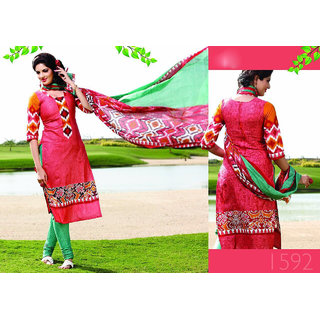 Aadya Pleasing Red Cotton Embroidered Semi-Stitched Suits
