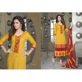 Aadya Fine Yellow Cotton Embroidered Semi-Stitched Suits