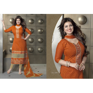 Aadya Graceful Orange Cotton Embroidered Semi-Stitched Suits