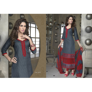 Aadya Grand Grey Cotton Embroidered Semi-Stitched Suits