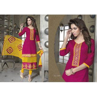 Aadya Ideal Pink Cotton Embroidered Semi-Stitched Suits