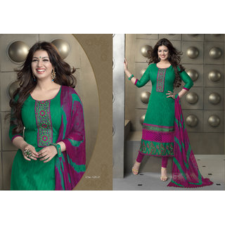 Aadya In Fashion Green Cotton Embroidered Semi-Stitched Suits