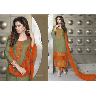 Aadya In Vogue Beige Cotton Embroidered Semi-Stitched Suits