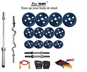 Protoner Weight Lifting Home Gym 35 Kg, 4 Rods (1 Curl) + Gloves + Rope