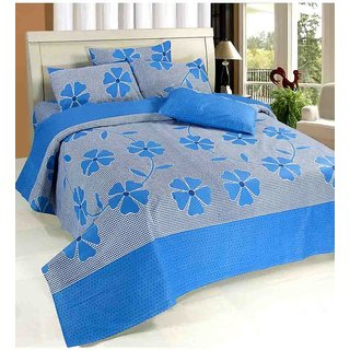 Dream Decor Designer Cotton Double Bed Sheet With 2 Pillow Cover - Blue Patch