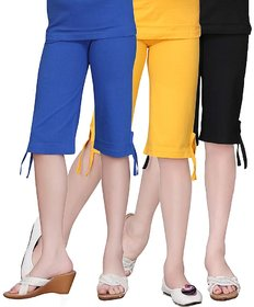 SINIMINI GIRLS COLORFUL CAPRI ( PACK OF 3 )-SMPC200_GYELLW_RBLUE_BLACK