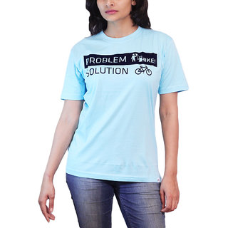 Thesmo Women'S Round Neck Cotton T-Shirt, Blue