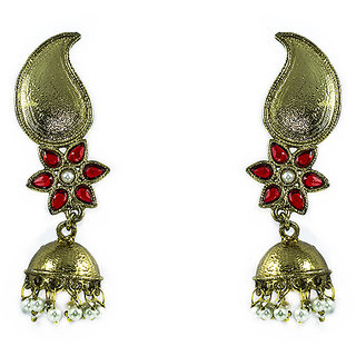 1b9f84ebedf Jhumki With Red Semi Precious Stone Prices in India- Shopclues- Online  Shopping Store