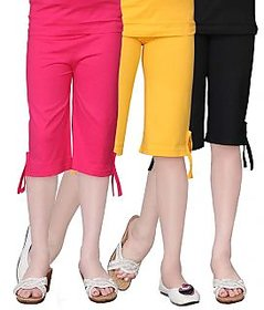 Sinimini Cotton Multicolour Girls Capri ( PACK OF 3 )-SMPC200_RPINK_GYELLOW_BLACK