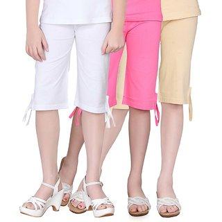 SINIMINI GIRLS COLORFUL CAPRI ( PACK OF 3 )-SMPC200_WHITE_MPINK_BEIGE