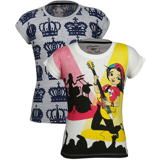 Jazzup-Girl's Cotton Printed T-Shirt Pack Of 2 (KZ-JNCC1709)