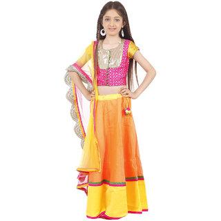Kids Chakra Pink Brocade Peach Chanderi Ghagra Choli