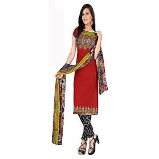 Jiya Presents Printed Crepe Chudidar Unstitched Dress Material(Red,Black,White)