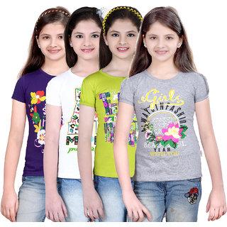Sinimini Girls Chic Printed Half Sleeve Tshirt (Pack Of 4)600PURPLEWHITMEGANDIWM