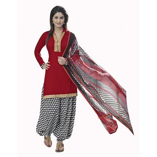 Crafts N Culture Red Color Cotton Suit.