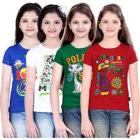 Sinimini Girls Classy Printed Half Sleeve Tshirt (Pack Of 4)600RBWHITEGREENRED