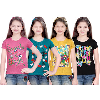 Sinimini Multicolour Cotton T-Shirt (Pack Of 4)