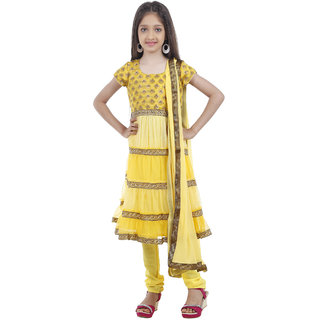 Kids Chakra Yellow shaded frills Anarkali Suit with a Crepe Churidar