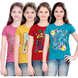 Sinimini Girls Mod Printed Half Sleeve Tshirt (Pack Of 4)600MPGYREDPETROL