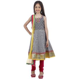 Kids Chakra Black-White Anarkali kurta Set