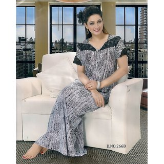 Buy Designer Nighty 1pc Daily Lounge Wear Night Dress Gray Gown Printed  Maxi Lounge Online   ₹1299 from ShopClues 052e78295