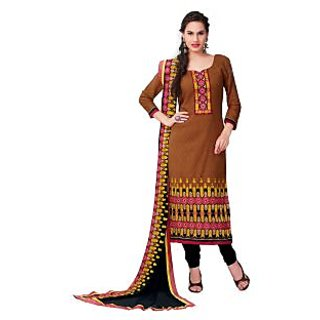 BanoRani Rust Cotton Embroidered Salwar Suit K-1253