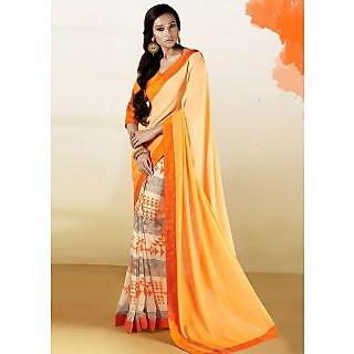 Riti Riwaz Orange & Beige saree with unstitched blouse RBL101